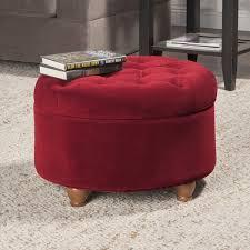 homepop button tufted velvet berry round storage ottoman free
