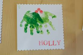 hand print holly christmas card christmas pinterest