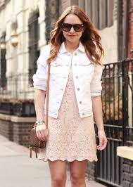 lace dress and white denim jacket the steele maiden