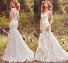 2017 elegant boho lace mermaid wedding dresses cap sleeve v neck