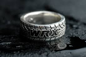tire wedding rings made wrx tire tread ring customizable by rock my world inc