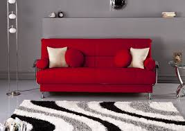 modern grey living room design ideas with red sofa and white red