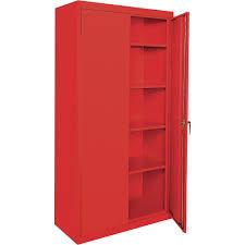 green metal freestanding kitchen storage cabinet with glass doors