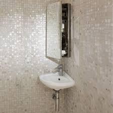 Corner Bathroom Mirror Cabinet Corner Bathroom Vanities Powder Room With Chocolate Cabinets