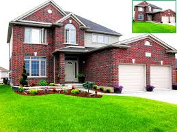 design front yard landscape ideas with bricks wall and green