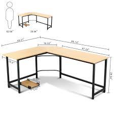 Computer L Desk Tribesigns Modern L Shaped Corner Computer Desk Teak Walmart Com