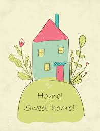 hand drawn cute home sweet home card picture of little house