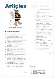 64 free definite article worksheets