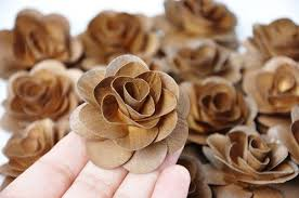wooden roses two dozens mahogany brown wooden roses made of birch wood shavings