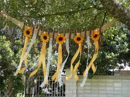 Sunflower Decorations Sunflower Twig Burlap Flower Wall Hanging Garland Rustic