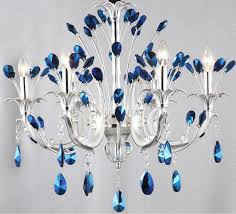 blue crystal chandelier light endearing blue crystal chandeliers home and interior home