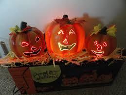 fiber optic halloween pumpkin decorations 18 1 2 fiber optic trio pumpkin horizontal stack halloween by