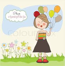 funny with balloon birthday greeting card stock vector