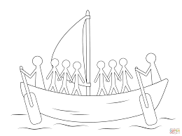 aboriginal painting of boat with human figures coloring page