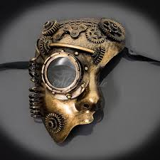 steunk masquerade mask steunk phantom masquerade mask gold m33232 beyond party