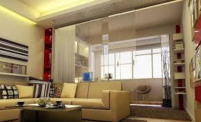 modern living room and study room interior design with transparent