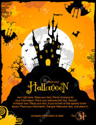 spookyt halloween background halloween invitation or background with spooky castle and bats
