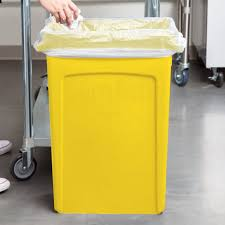 wall mounted sharps containers rubbermaid 1956188 23 gallon slim jim yellow trash can