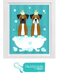boxer dog wall art 121d two brown boxer dogs in bubble bath bathtub blue wall art