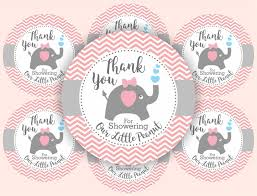 elephant baby shower favor thank you tags for girls chevron