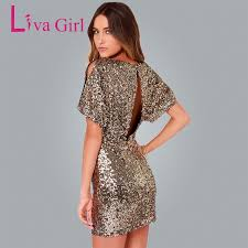 gold party dress liva girl gold sequins lantern sleeve party dress