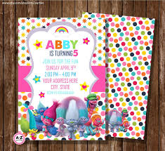 Personalized Invitation Card For Birthday Troll Birthday Invitation Personalized Invitation Printable Diy