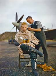 raf pilot getting a haircut during a break between missions 1942