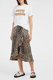 silk skirt lyst ganni dufort ruffle trimmed leopard print stretch silk