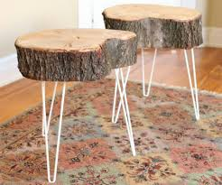 how to make a tree stump table 17 apart over on ehow rustic tree stump side tables