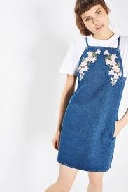 moto embroidered denim pinafore dress topshop singapore