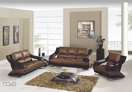 Best Living Room Furniture by Brown Leather Sofa And Cushions With Rectangle Brown Wooden Table