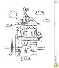hand drawn home villa vector house coloring book cartoon
