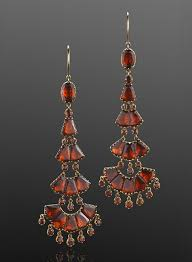 Garnet Chandelier Earrings Georgian Foil Backed Hessonite Garnet Chandelier Earrings