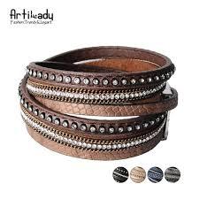 rhinestone leather wrap bracelet images Artilady wrap leather bangle charm winter leather bracelet women jpg