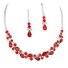 red collar necklace images Elegant garnet red jewel collar necklace set for prom bridesmaid jpg