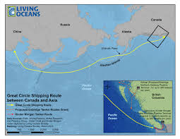 Circle Map Great Circle Shipping Route Between Canada And Asia Living Oceans