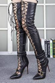 womens size 12 leather boots designer lace up thigh high boots heels grey