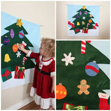 Wooden Toy Christmas Tree Decorations - felt christmas tree decoration interactive toddler child toy by
