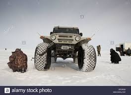 modified jeep ice fishing for smelts by modified jeep anadyr chukotka siberia