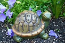 garden turtle figurine with saying pond flower 7 5in x4 5in statue
