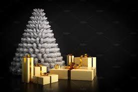 modern christmas tree shining modern christmas tree and presents on black background