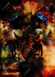 tiger and butterfly painting collage and desert crackle stock photo