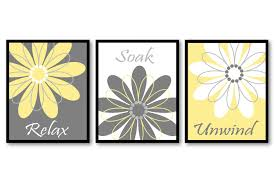 Gray And Yellow Bathroom by Bathroom Wall Art Yellow Grey Gray White Daisy Flower Print