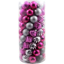 buy pink and silver shatterproof ornaments 101pk in