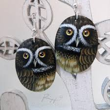 owl earrings unique eared owl earrings painted jewels by roberto rizzo