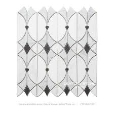 black and white carrara water jet marble mosaic tile for kitchen