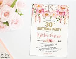 boho 30th birthday invitation 16th 21st 40th 50th 60th 70th