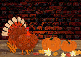 thanksgiving vector art thanksgiving day brick wall background with turkey vector image