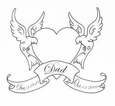 outline heart swallows birds with banner tattoo design tattoos