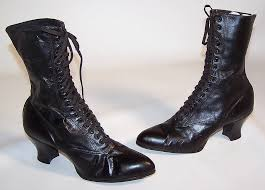womens boots leather black this pair of unworn antique s vintage era black